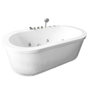 Whirlpool Freestanding Modern Bathtub Double Pump 16 Nozzle Hot Tub  Hydrotherapy