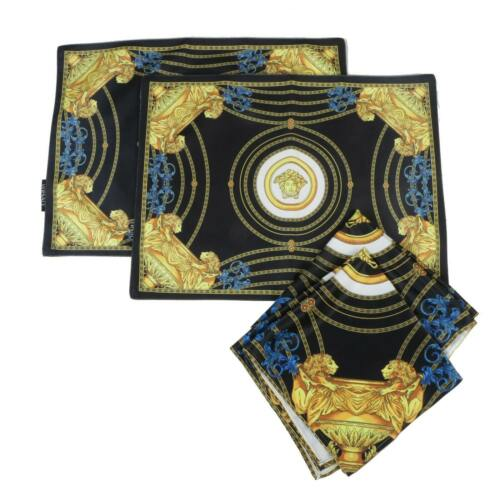Versace Atelier Black & Gold Velvet Medusa Placemats and Napkins, Italy (2 Sets)