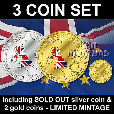 Brexit 3 Coin Set   Silver   Gold Proof   June 23 2016 Cook Islands    1  5  20