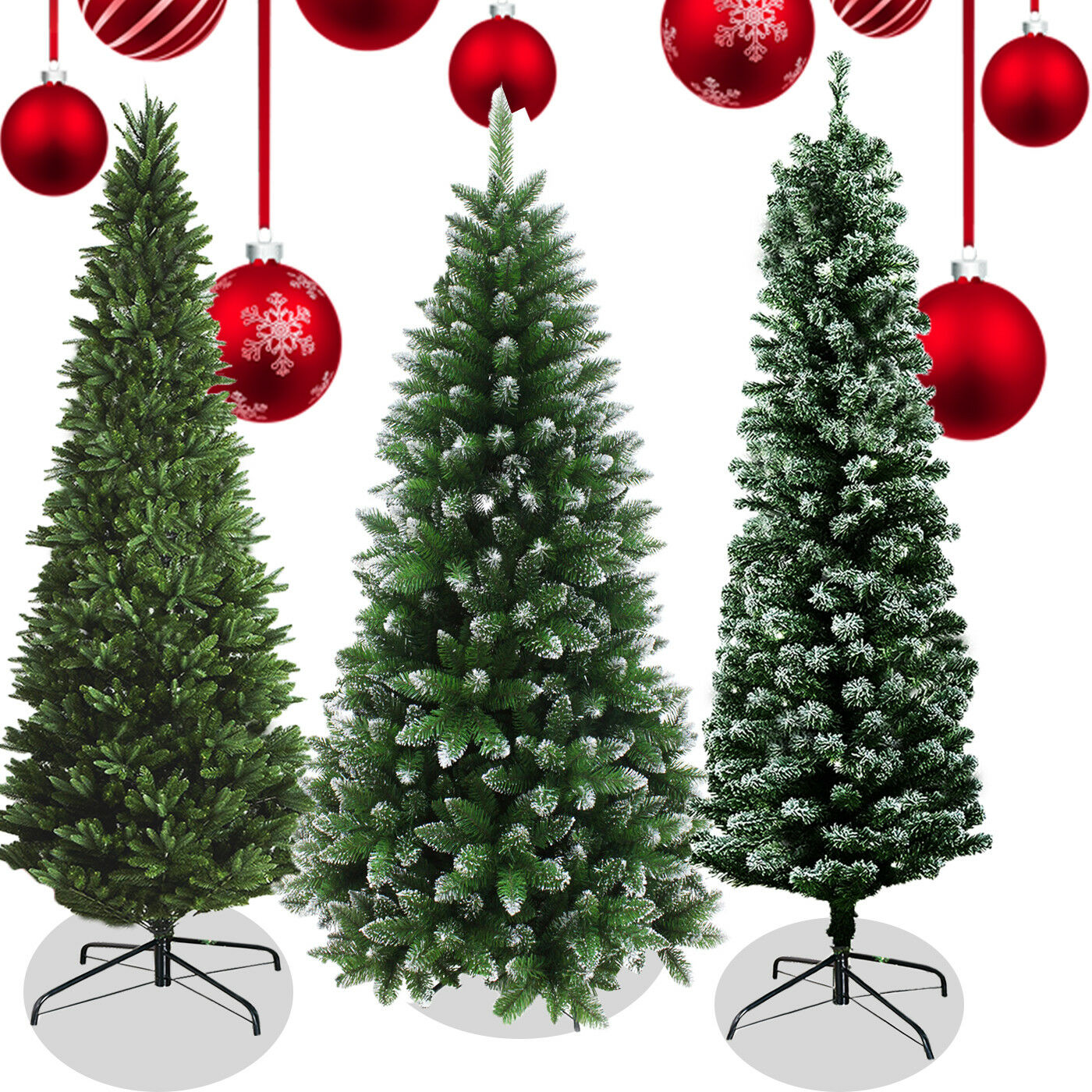 Frosted Slim Christmas Tree: Christmas Artificial Pencil Slim Frosted Snow Tips Metal