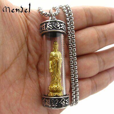 MENDEL Mens Vintage 18K Gold Tibet Tibetan Amulet Buddha Pendant Necklace Silver Silver Buddha Pendant Necklace