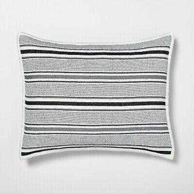 Hearth Hand Magnolia Pillow Sham KING Black White Texture Stripe Railroad Case ()