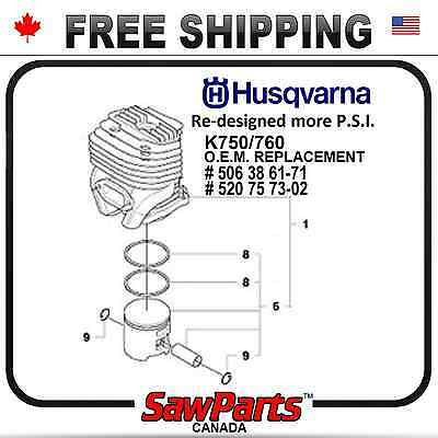 Husqvarna K750 K760 Cylinder Piston Nikasil O.e.m. Quality Replacement 51mm
