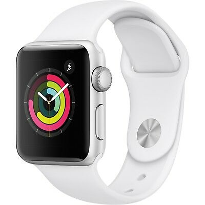 Apple - Apple Watch Series 3 (GPS) 38mm Silver Aluminum Case with White Sport Band - Silver Aluminum