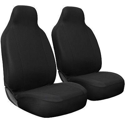 Seat Cover Set Front Integrated Bucket for Car Truck SUV Flat Cloth - 2pc Black ()