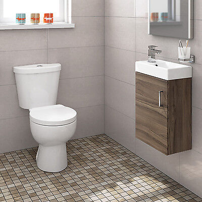 Complete Cloakroom Bathroom Suite With Walnut Basin Unit And Toilet