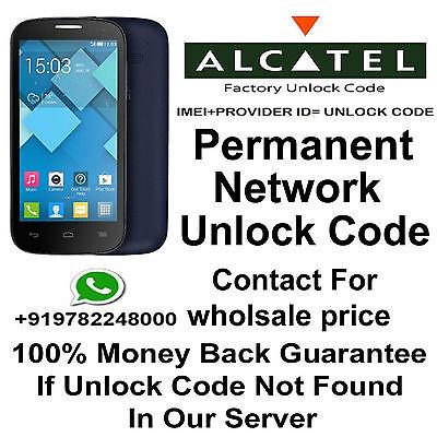 SIM NETWORK UNLOCK CODE FOR ALCATEL 4060A 5056O  AT&T USA