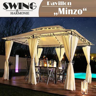 LED - Pavillon 3x4m Garten Pavilon Designer Pavillion Gartenzelt Solar Pavilion
