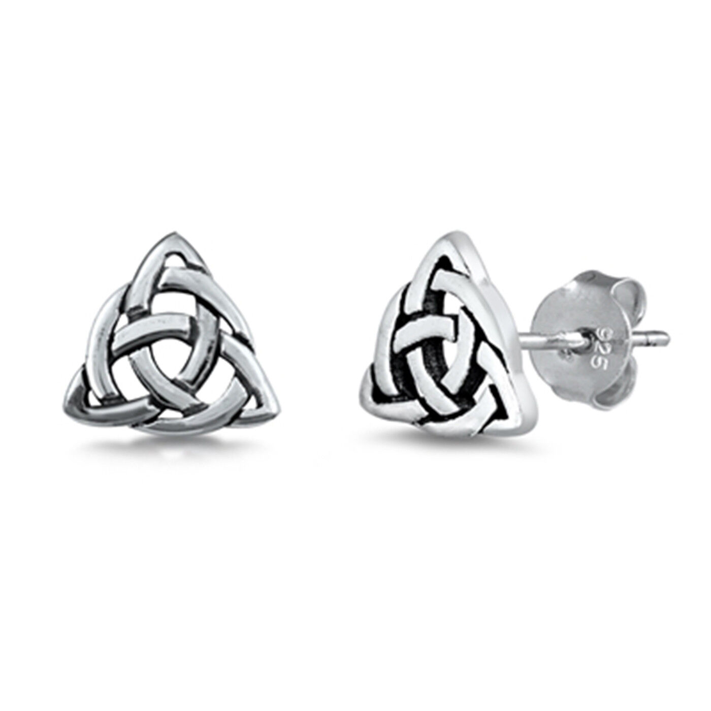 Sterling Silver Trinity Post Earrings Solid 8 mm 7 mm Button Earrings Jewelry