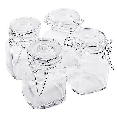 4pc Glass Mini Mason Jars Canisters Kitchen Storage Wedding