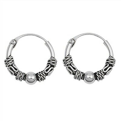 Braid Silver Earrings - Unique Braided Rope with Bali Hoop 925 Sterling Silver Earrings  (Select Sizes)