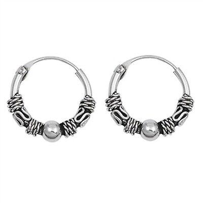 Unique Braided Rope with Bali Hoop 925 Sterling Silver Earrings  (Select - Braid Silver Earrings