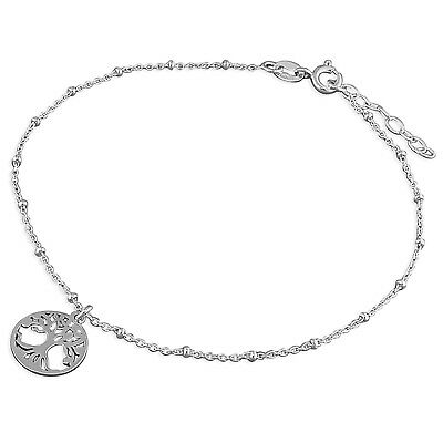 "9.25"" - 10"" Sterling silver anklet with tree of life charm 1.8g"