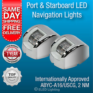 Boat LED Navigation Lights 12 volt Port and Starboard Stainless Steel Case