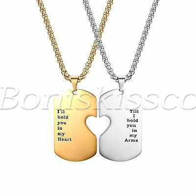 His and Hers Couples Love Eternal Heart Puzzle Pendant Necklace Anniversary Gift
