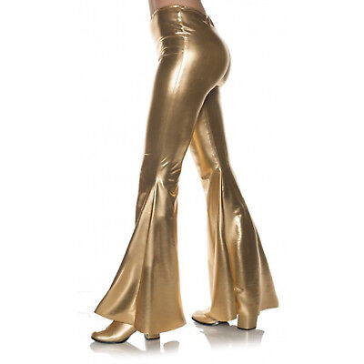 Gold 70S Metallic Womens Adult Disco Costume Bell Bottoms Pants (Belle Costumes Adult)