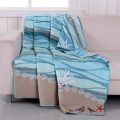 Throw Blanket Tropical Birds Blue Wave White Turquoise Embroidered Chair Cover