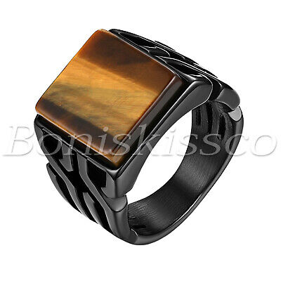 Mens Stainless Steel Tigers - Men's Retro Glossy Stainless Steel Tiger Eye Stone Patterned Band Ring Size 8-11