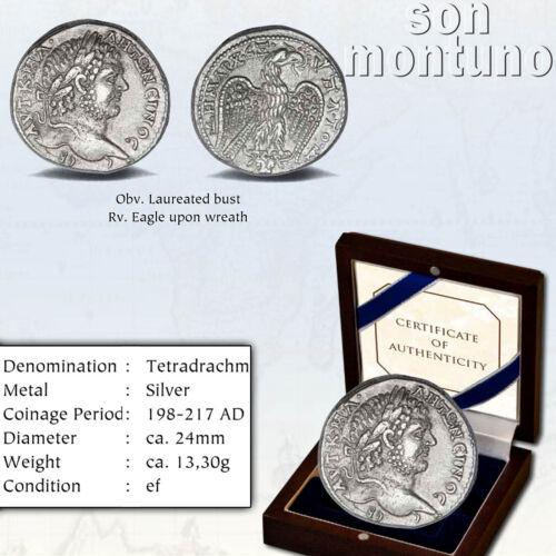 CARACALLA - Ancient Tetradrachm Silver Coin - Roman Province Syria XF 198-217 AD