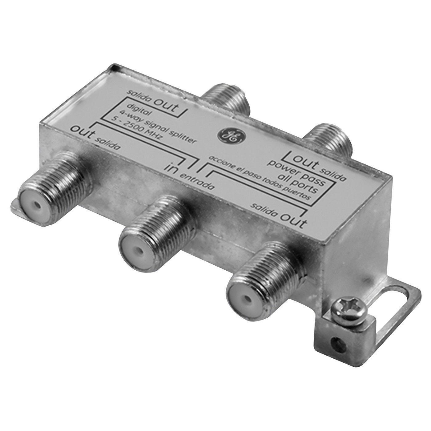 GE 4 Way Digital Coax Splitter, 2500MHz - Nickel