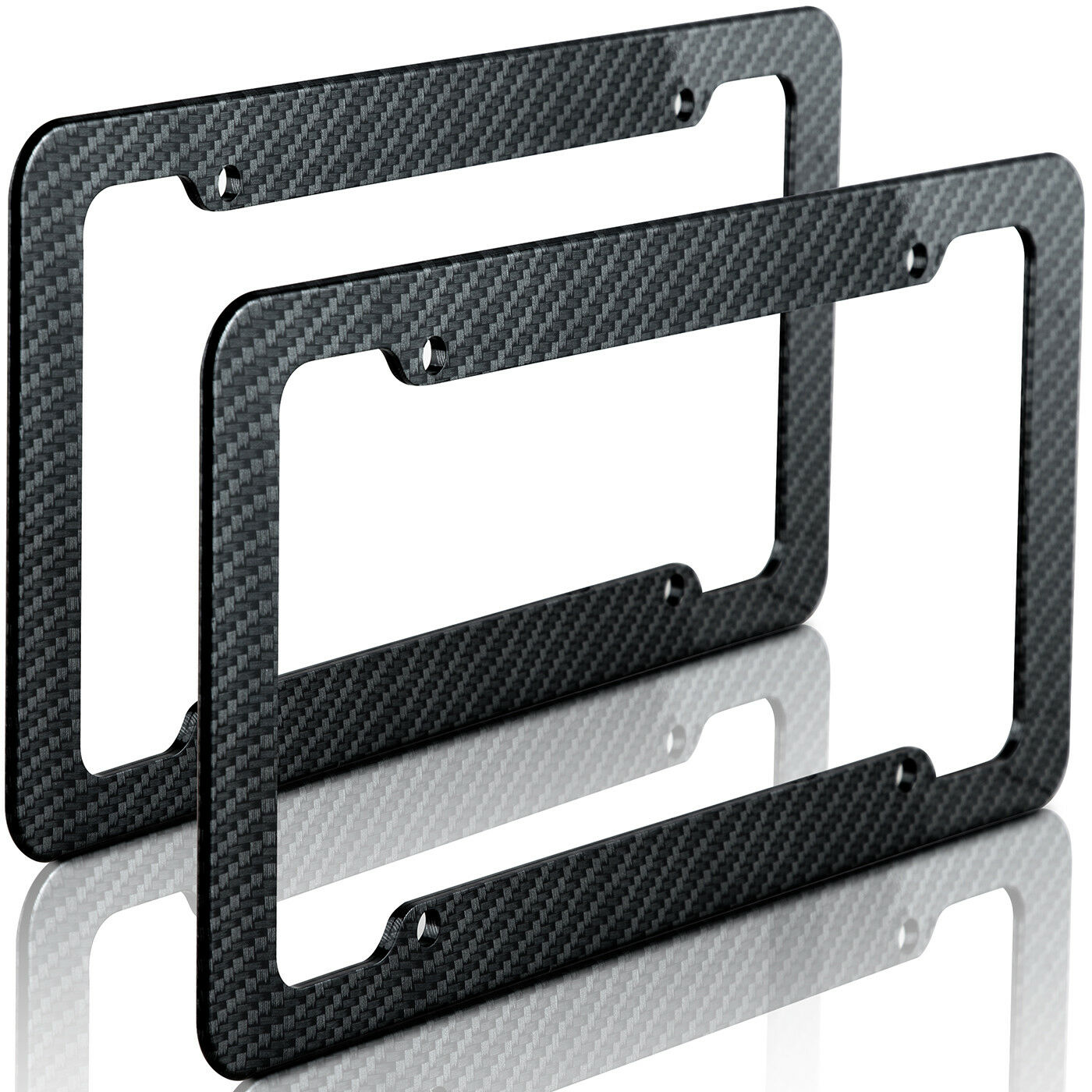 Car Parts - Plastic Carbon Fiber Style License Plate Frames For Front & Rear Bracket 2pc Set