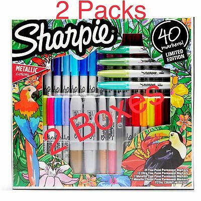 Sharpie 40 Permanent Markers Variety Pack Ultra Fine Chisel Metallic 2 Pack