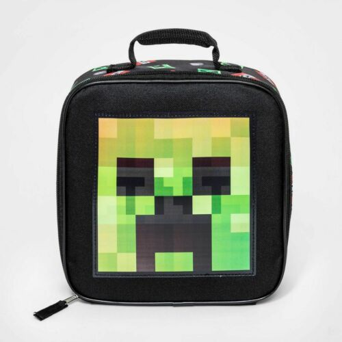 LICENSED Mojang MINECRAFT Holographic Creeper Insulated Lunch Bag Tote Cooler