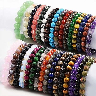 "Handmade Natural Gemstone Round Beads Stretch Bracelet Bangle 7.5"" You Choose"