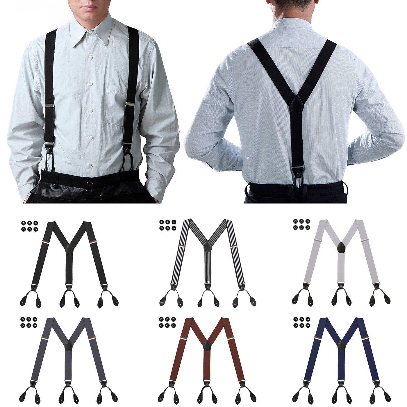 Mens Button Hole Suspenders Y-Back Adjustable Heavy Duty Des