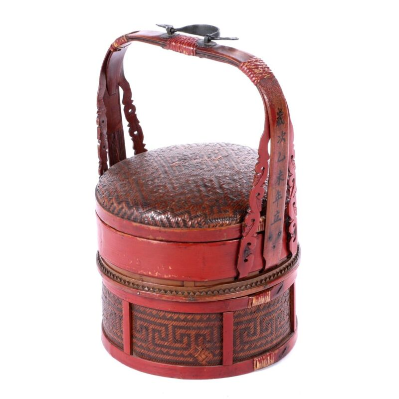 Antique Hand-Made Red Lacquer Chinese Covered Wedding Basket
