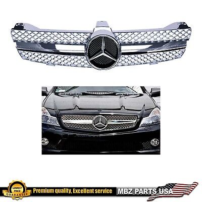 CLS 06 08 ALL CHROME GRILLE CLS63 STYLE AMG CUSTOM PARTS FRONT EMBLEM BADGE
