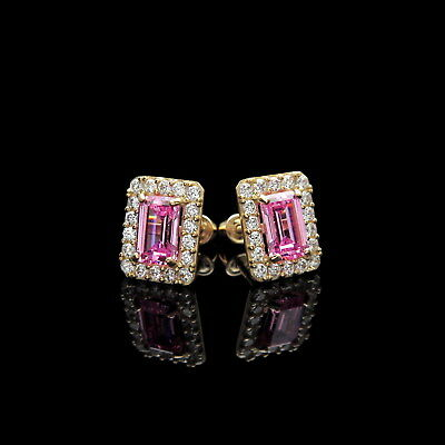 - 1.50CT Emerald Cut Pink Halo Created Diamond Stud Earrings 14k Yellow Gold