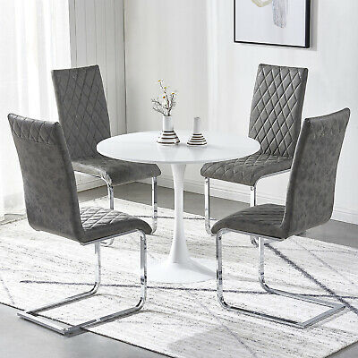 Dining Chairs Distressed Faux Leather High Back Chair Chrome Legs Room Dark Grey