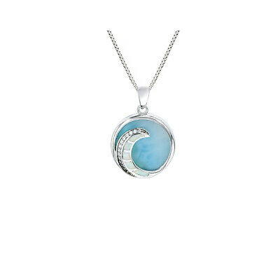 Natural Larimar Sterling Silver 925 Ocean Wave Circular Pendant (Natural Larimar Pendant)