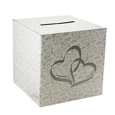 White 2 Hearts Wedding Party Card Money Gift Box Wishing Well Reception Decor](Wedding Money Box)
