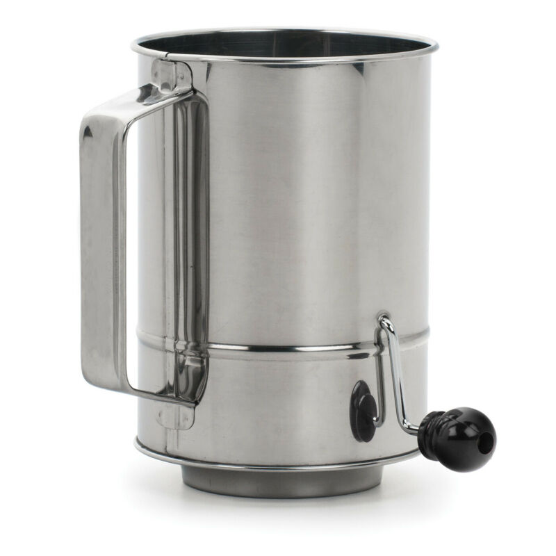 RSVP Endurance Stainless Steel Crank Style Flour Sifter 5 cup