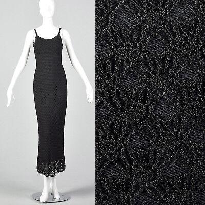 Small 1990s Cache Crochet Maxi Dress Sexy Morticia Adams VTG Little Black - Morticia Adams Dress