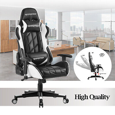Gtpoffice Computer Gaming Chair Office High Back Recliner Swivel Leather Seat