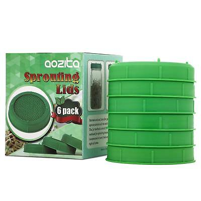 6 Pack Plastic Sprouting Lids for Wide Mouth Mason Jars - Sprouing Jar Strainer - Wide Mouth Mason Jar
