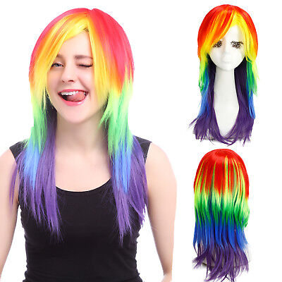 My Little Pony Rainbow Dash Cosplay Wig Rainbow Color Halloween Party Hair Wigs - My Little Pony Halloween Party