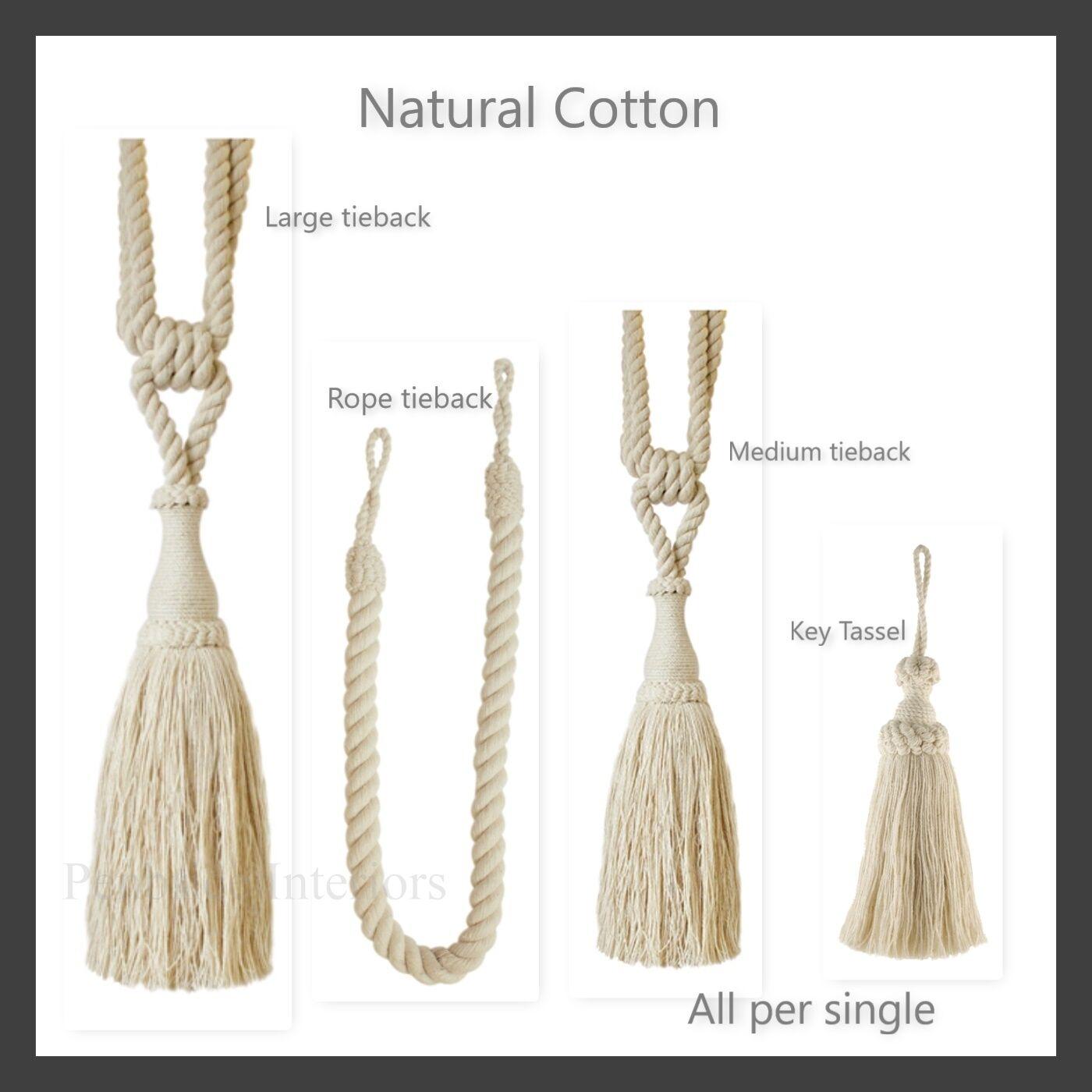 1 Natural Cotton Curtain Tieback Rope Key Tassel Per single Tie Back