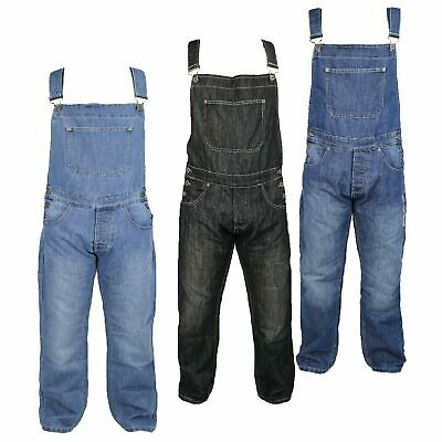 Mens Denim Cotton Dungarees By VON DENIM with Button Fly and Bib Pocket Overalls - Button Fly Denim Bib