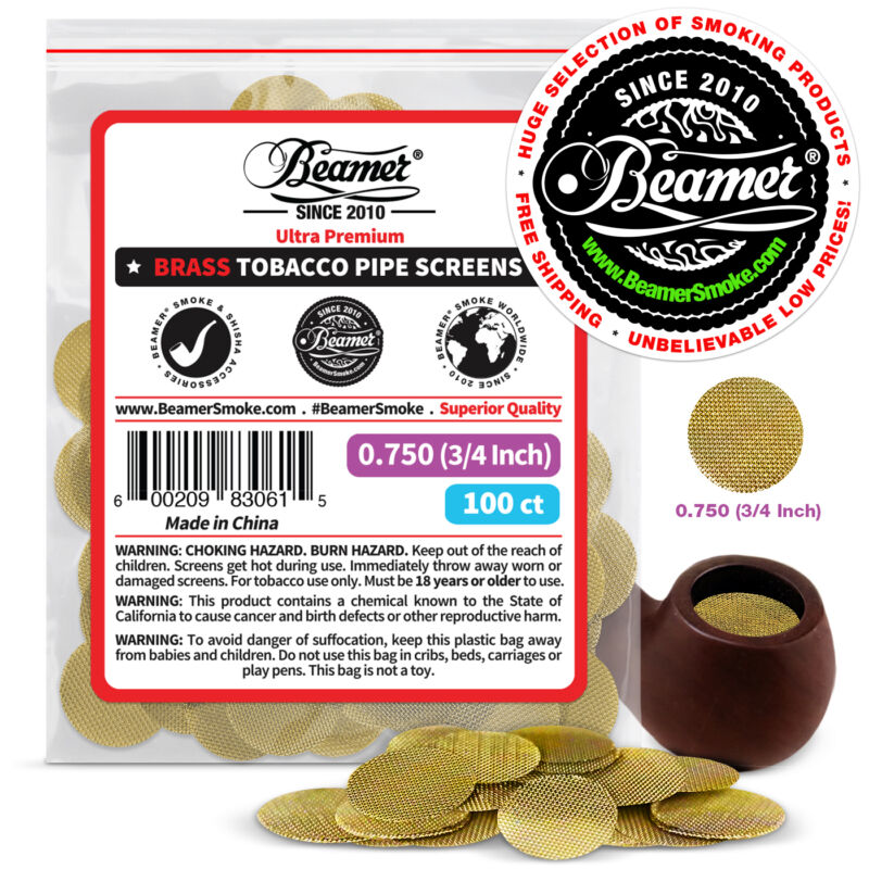"100 Beamer Brass Metal Tobacco Smoking Pipe Screens .750"" 3/4""Comp2 Glass, Steel"