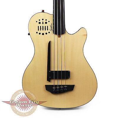 Brand New Godin A4 Ultra Fretless Acoustic Electric Bass Guitar Natural B Stock