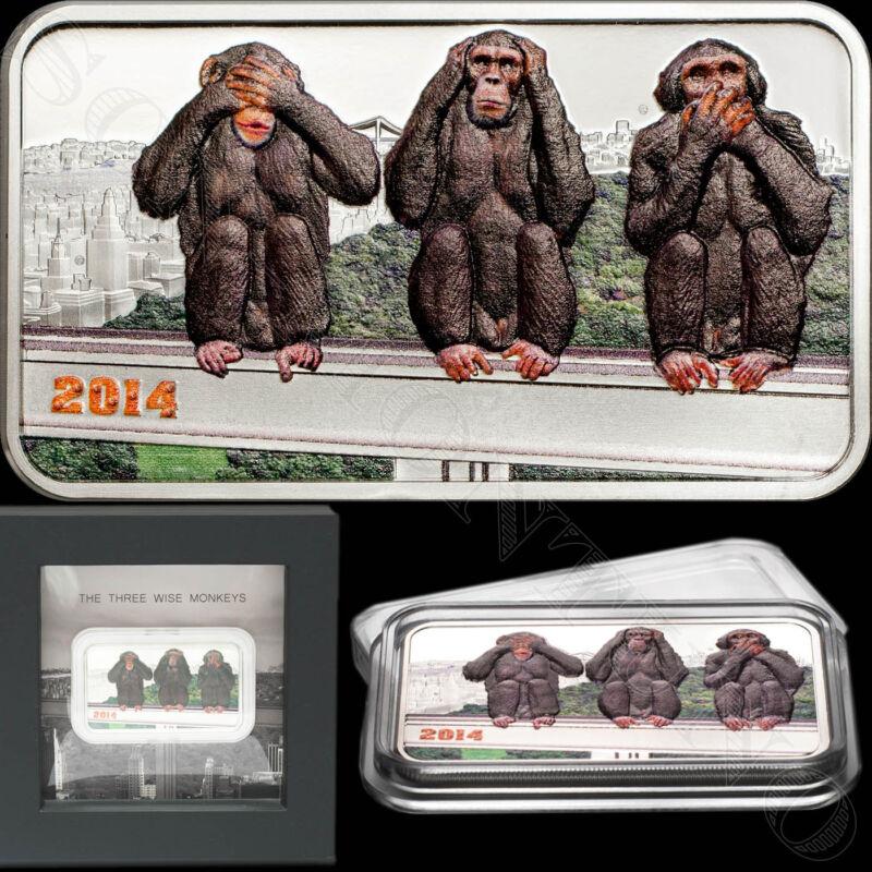 2014 Tanzania THREE WISE MONKEYS 1 oz Silver Coin SEE-HEAR-SPEAK NO EVIL Japan