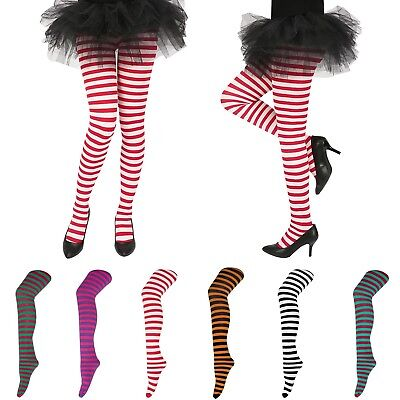Striped Pantyhose (Womens Striped Holiday Tights Opaque Microfiber Stockings Nylon Footed)