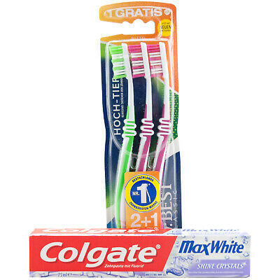 Colgate MAX WHITE 2 x Zahnpasta + 3 Zahnbürsten Dr. Best Mittel