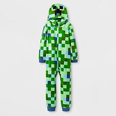MINECRAFT Pajamas Boys Size XL 14/16 One Piece Union Suit Creeper Costume Girls (Girl Minecraft Costume)