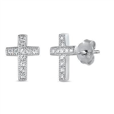 - CZ Cross Stud 925 Sterling Silver Post Earrings