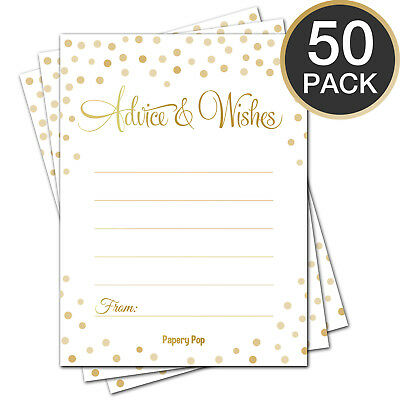 Wedding Advice Cards, Advice for the Bride (50 Cards) - Bridal Shower Games